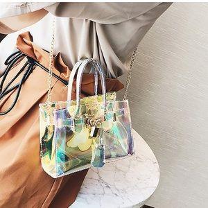 Handbags - Transparent Light Blue Patent Leather Messenger